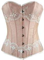 Burvogue Women's Elegant Lace Jacquard waist trainer Overbust Corset Tops