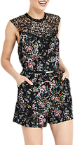 Oasis Royal Worcester Collection Floral Print Playsuit, Black/Multi