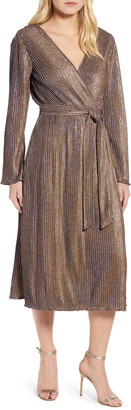 Chaus Sparkle Ribbed Long Sleeve Faux Wrap Dress
