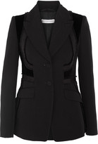 Altuzarra Rome Velvet-paneled Embroidered Wool Blazer - Black