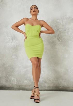 Missguided Petite Lime Bandeau Mini Dress
