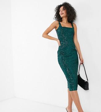 Club L London Tall sequin square neck midi pencil dress in emerald green