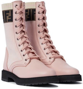 Fendi Rockoko leather combat boots