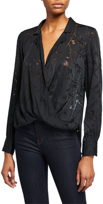 Rag & Bone Dean Floral Cross-Front Shirt
