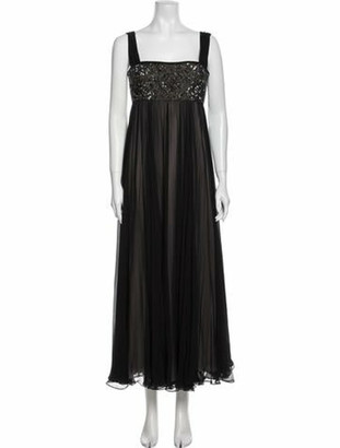 Marchesa Silk Long Dress Black