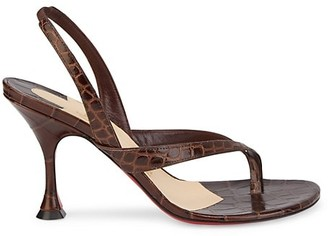 Christian Louboutin Taralita Croc-Embossed Leather Slingback Thong Sandals