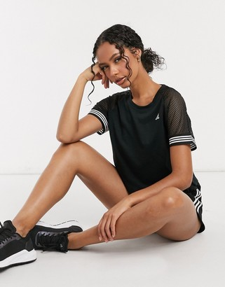 adidas training 3 stripe T-shirt in black and white