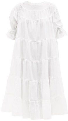 Merlette New York Paradis Tiered Cotton Midi Dress - Womens - White