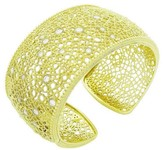 Judith Ripka 18K Yellow Gold Round Cut Diamond Wide Cuff Bracelet