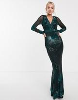 Goddiva V neck maxi dress in emerald green sequin