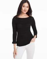 White House Black Market Mix-Stitch Peplum Sleeve Pullover Sweater