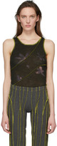 Helenamanzano Grey and Green Twist 3D Stripe Tank Top