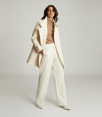 Reiss Sicily - Wool Blend Mid Length Coat in Cream