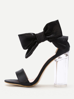 Shein Bow Tie Decorated Satin Block Heeled Sandals