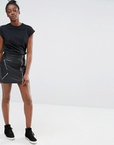 Only Leather Look Biker Skirt with Zips