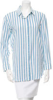 The Row Pinstripe Button-Up Top