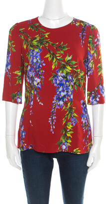 Dolce & Gabbana Red Wisteria Floral Print Short Sleeve Top M