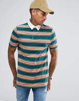 Asos Longline Stripe Rugby Polo Shirt