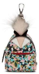 Fendi Mini Monster Leather& Fur Backpack Key Charm