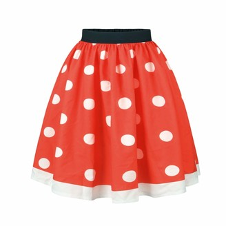 Miduo Women Printed High Waist Elastic Waist Pleated Bubble Skirt Christmas Vintage Spot Pattern Knee Length Petticoat Skirt Print Flared Printing A line Skirts Women's Dress (Color : Red Size : XL)