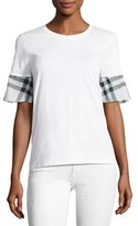 Burberry Check Ruffle-Sleeve Tee, White