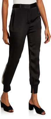 3.1 Phillip Lim Satin Jogger Pants with Ribbed Side Panel