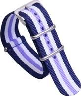 AUTULET Blue/White/Purple Preppy Look Classic Gentle Men's NATO Style Nylon Canvas Watch Bands Straps