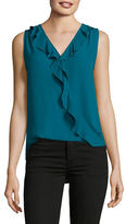 I.N.C International Concepts Petite Ruffled Surplice Top