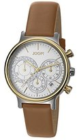 JOOP! Joop Golden Leather Women's Quartz Watch with Silver Dial Chronograph Display and Brown Leather Strap JP101502011