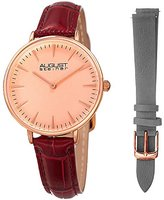 August Steiner Women's Rose-Tone Case with Red Alligator Embossed Genuine Leather Strap and Additional Grey Strap Watch AS8206RG-BX