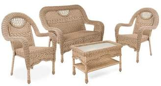 Plow & Hearth Prospect Hill Wicker Set Of Settee, Two Chairs And Coffee Table, In Driftwood