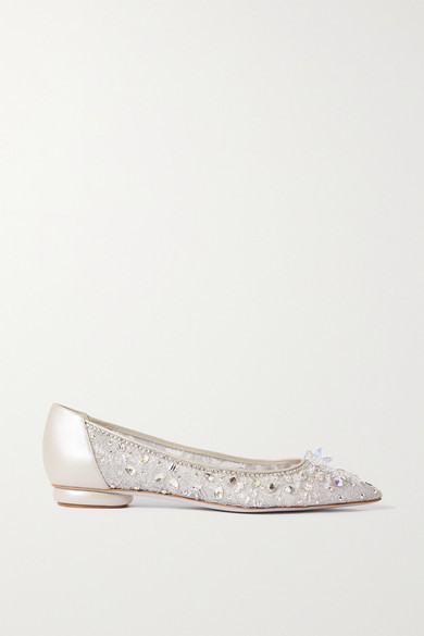 Rene Caovilla Crystal-embellished Leather-trimmed Lace Point-toe Flats - Silver
