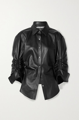 Alexander Wang Ruched Leather Shirt - Black