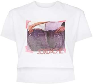 Jordache Cropped cotton photo print T-shirt