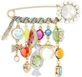 Betsey Johnson Multi-Stone and Ribbon Charm Brooch Brooches Pins
