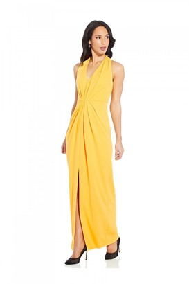 Adrianna Papell Pleated Crepe Gown In Canary Yellow