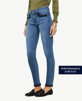 Ann Taylor Pom Pom Hem All Day Skinny Jeans in Sienna Wash