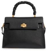 Miu Miu Madras Click Goatskin Leather Satchel - Black