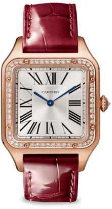 Cartier Santos de Large 18K Rose Gold & Bordeaux Alligator Strap Watch