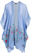 Lvs Collections LVS Collections Women's Kimono Cardigans BLUE - Blue Floral-Embroidered Cape-Sleeve Kimono - Women