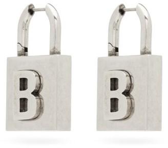 Balenciaga B-logo Silver-tone Padlock Earrings - Silver
