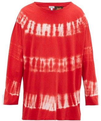 Loewe Paula's Ibiza - Distressed Tie-dyed Cotton Long-sleeved T-shirt - Red