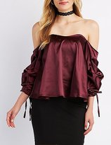 Charlotte Russe Satin Gathered Off-The-Shoulder Top