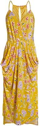 BCBGeneration Floral Faux Wrap Midi Dress