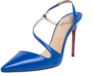 Louis Vuitton Christian Louboutin Blue Leather June Slingback Sandals Size 39.5
