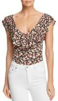 Little Black Bodysuit Ruffled Floral-Print Bodysuit - 100% Exclusive