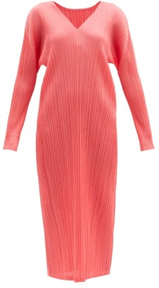 Pleats Please Issey Miyake V-neck Technical-pleated Midi Dress - Pink