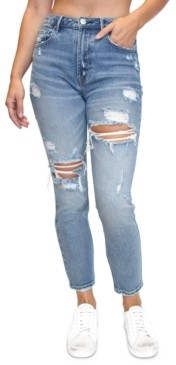 Almost Famous Crave Fame Juniors' Ripped Mom Jeans