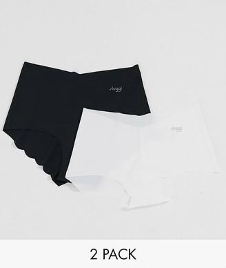 Sloggi Zero Microfibre scallop edge 2 pack boy short briefs in black/white