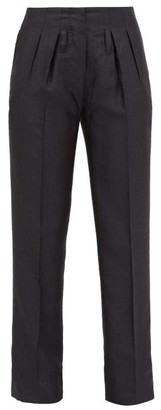 Giuliva Heritage Collection The Gastone Silk-blend Herringbone Trousers - Navy